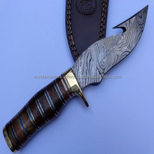 New Arrival Handmade Damascus Gut Hook Hunting Knife Outdoor Survival Knife