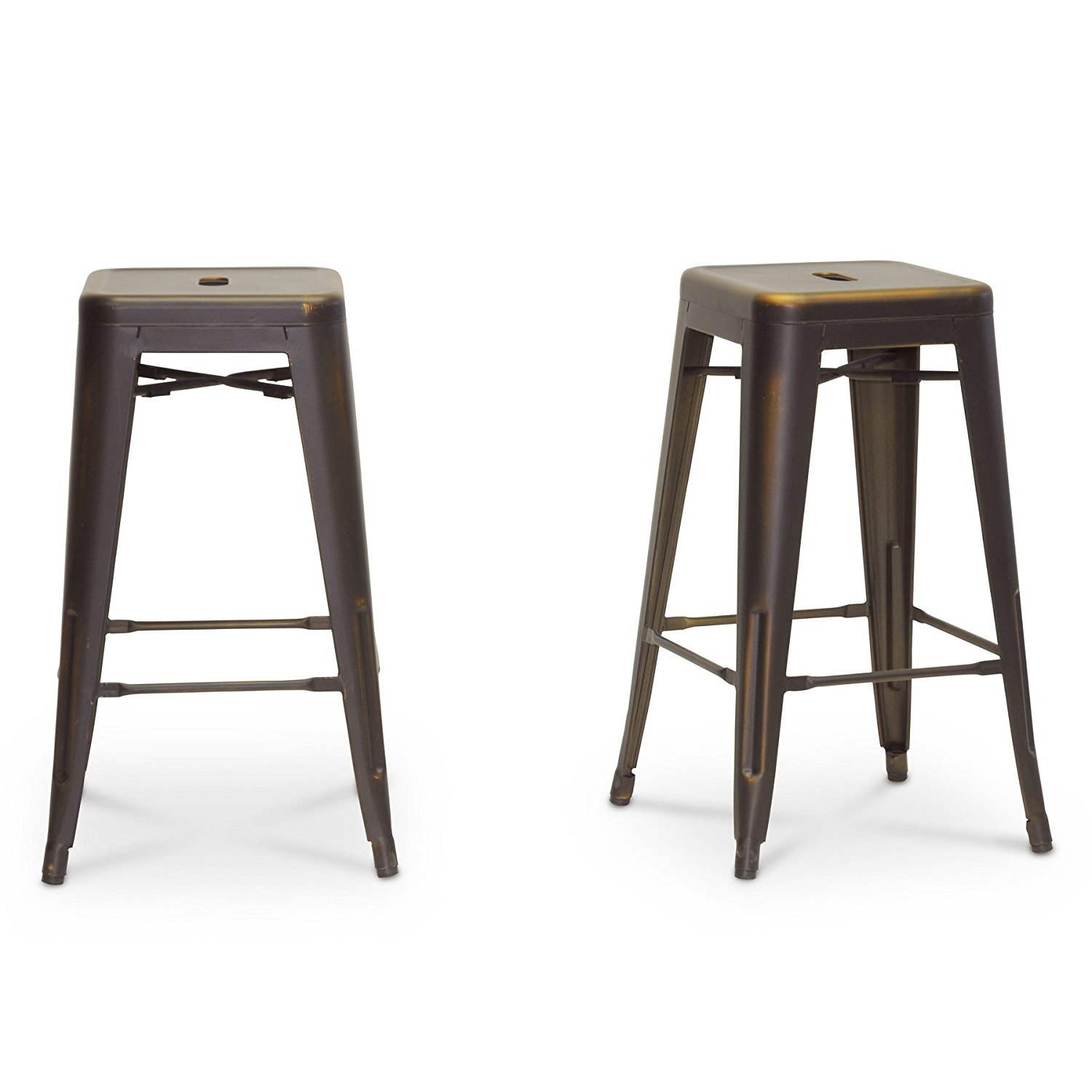 Baxton Studio French Industrial Modern Counter Stool, Antique Copper, Set of 2