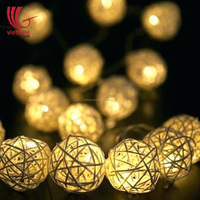 Unique Design Rattan Lamp shade, Decorative Rattan Ball LED String Lights Wholesale