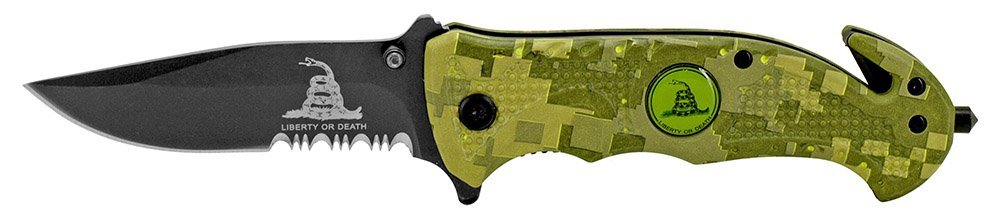 Rogue River Tactical Knives US Marine Corps Don't Tread On Me Spring Assisted Rescue Pocket Knife Digital Camo Drop Point Blade Gadsden Flag Patriot USMC 8 Variations