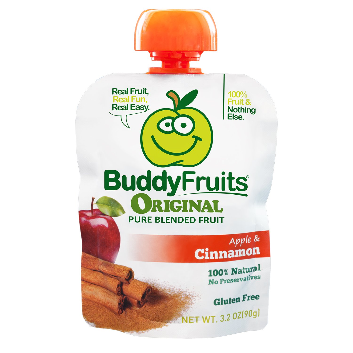 Buddy Fruits Pure Blended Fruit To Go, Apple and Cinnamon, 3.2 Ounce Packages (Pack of 18)