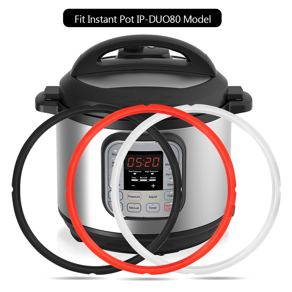 Mocoosy Silicone Sealing Ring for 8 qt Instant Pot 8 Quart Accessories Sealing Ring Sweet and Savory, BPA-free, Food-grade Silicone, Fit Instant Pot IP-DUO80 IP-LUX8 (Black, Red, Clear)