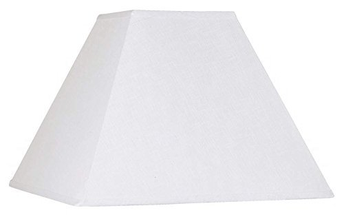 Upgradelights White Linen Square Mission Style 12 Inch Washer Fitted Lampshade 6x12x10