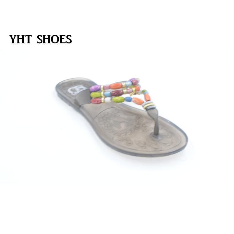 2018 Afrikanischen Perlen Kunststoff Sandalen Flip flops Frauen Geleeschuhe Buy Bunte Perlen Design Schuhe,Folk Stil Frauen Flache Schuhe,Flip Flop