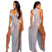 Women Sexy See Through Bikini Mesh Cover Up Swimsuit Beach Maxi Dress