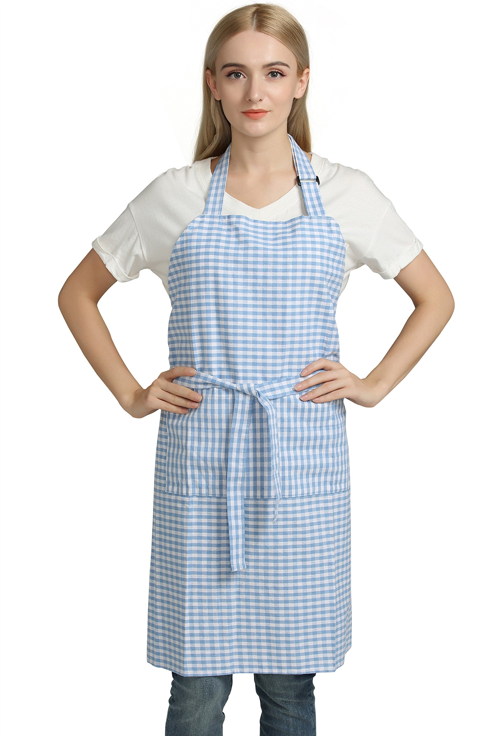 Vintage Gingham Kitchen Aprons Chef Bib Canvas Aprons Christmas Holiday Home Decorative 100% Pure Cotton Aprons in Large Size with Pockets with Pockets by Jennice House(Blue)
