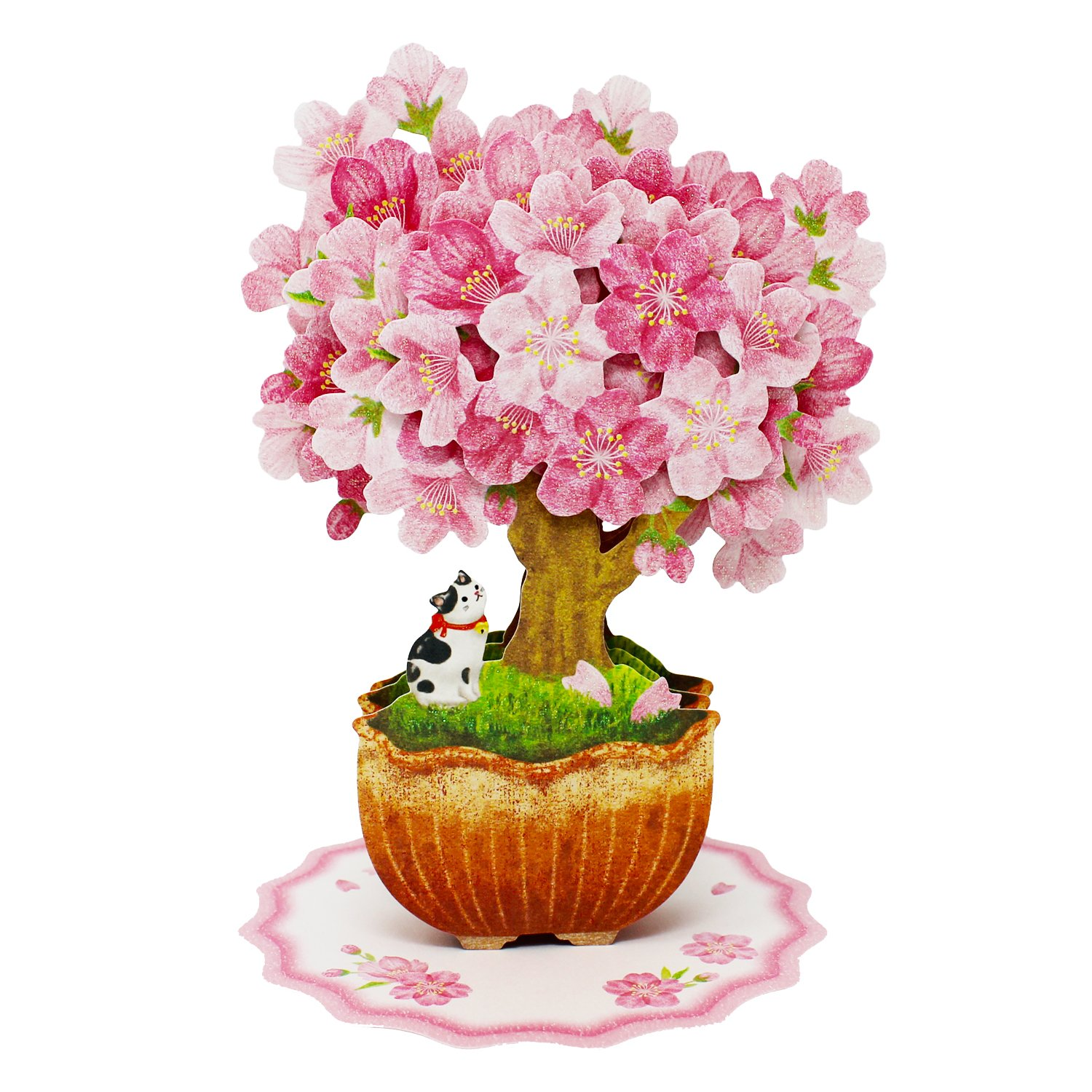 Bonsai Árvore Da Flor De Cereja com Gato Multipurpose Pop Up Cartão