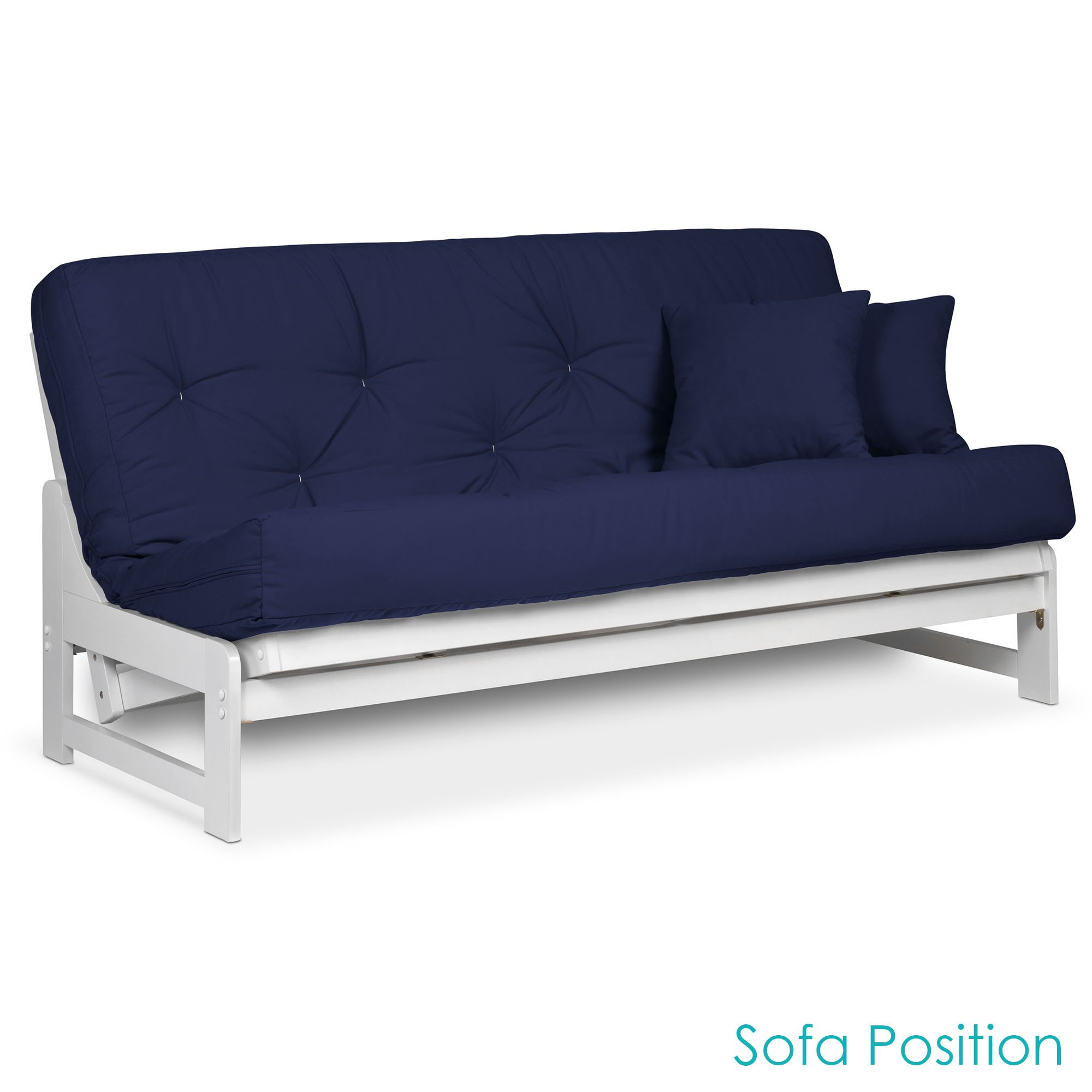 Get Quotations Arden White Futon Set Queen Size Armless Frame With Mattress Included Twill Navy