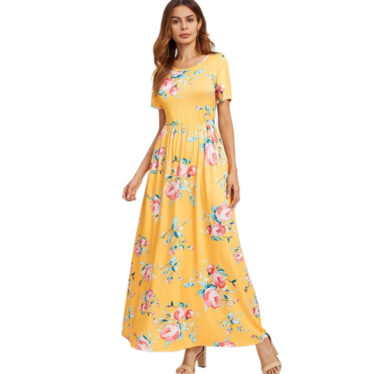 2dfe37ee78 casual summer wear short sleeve shirring waist full floral print maxi dress  with pockets