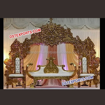 Royal Crown Wedding Stage Decoration Simple Wedding Reception Stage