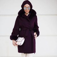 POWDER PINK CASHMERE WOMAN FANCY COAT WITH REMOVABLE FOX COLLAR AND SLEEVE CUFF