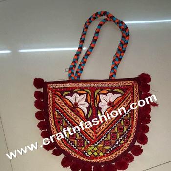 11e6d81a900d 2018 Indian Vintage Tote Bag - Ethnic Boho Kutch EmbroideryJhola Bag -  Banjara Style Pom Pom