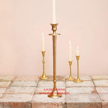 Small Gold Pillar Candle Holder