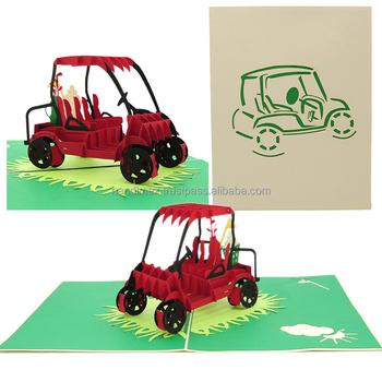 Golf Cart Pop Up Card With Happy Birthday Wholesale Handmade Pop Up