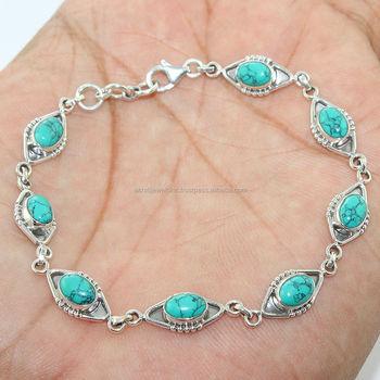 b5547c133977 Precioso turquesa plata esterlina 925 pulsera de piedras preciosas joyas de plata  por mayor