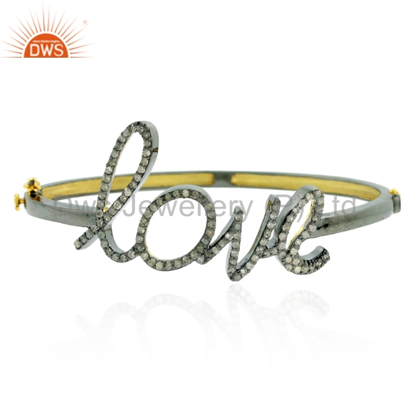LOVE Font 925 Sterling Silver Gold Bangle Supplier Pave Diamond Bangle Manufacturer Indian Jewelry