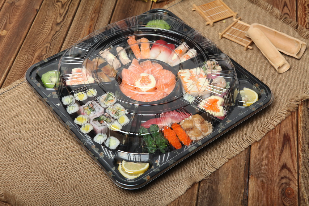 Party japanese printing plastic disposable tray serving square