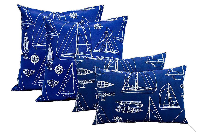 """Set of 4 Indoor / Outdoor Pillows - 17"""" Square Throw Pillows & 2 Rectangle / Lumbar Throw Pillows - Navy Sailboat Blueprint Pattern"""