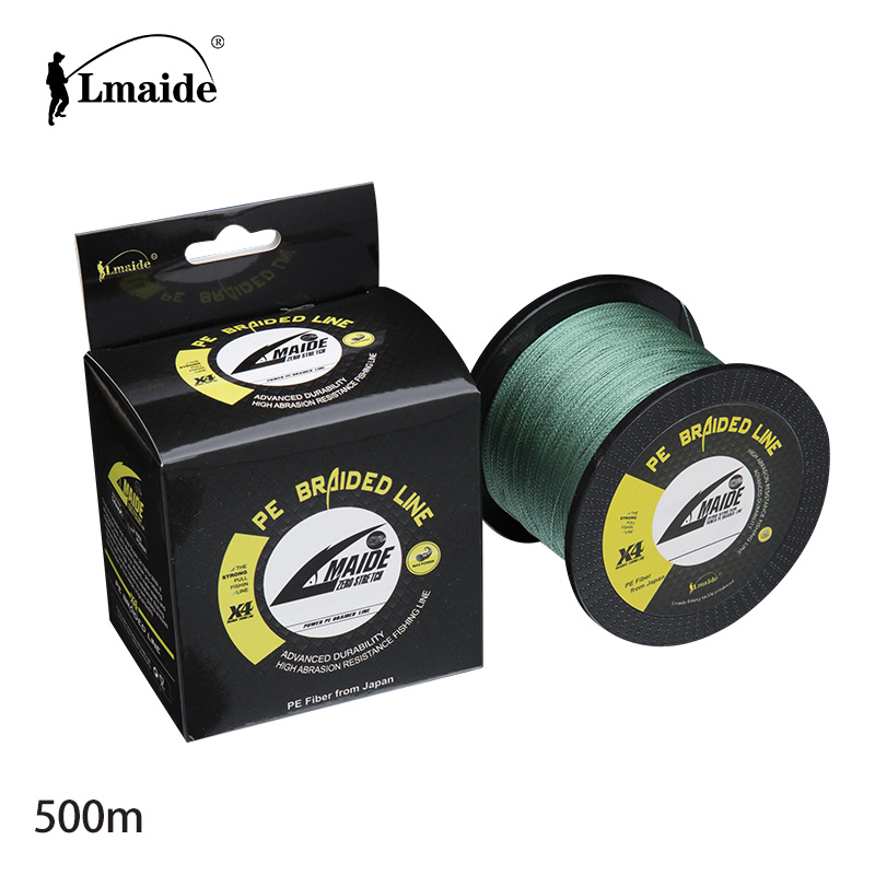 500m 4 strands braided fishing line PE strong strength reel fishing line 4LB-150LB, Blue.yellow .orange red;gray.white.green