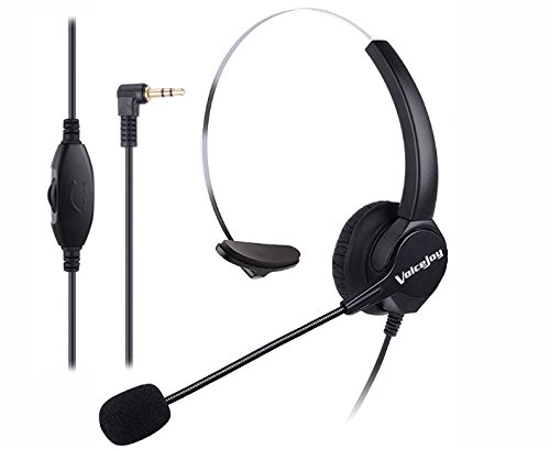 VoiceJoy Headset Headphones with Volume+Mute Control+Standard 2.5mm Plug Jack for Cisco SPA Series Spa303 Spa504g and Other, Polycom Soundpoint Ip 320 330, Grandstream, Linksys,Cortelco