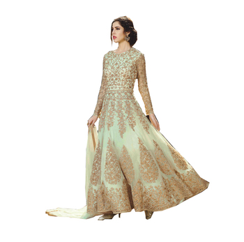 Shop Beige Net Anarkali Suit/Online Shopping For Clothing/Indian Party Wear Ladies Suits