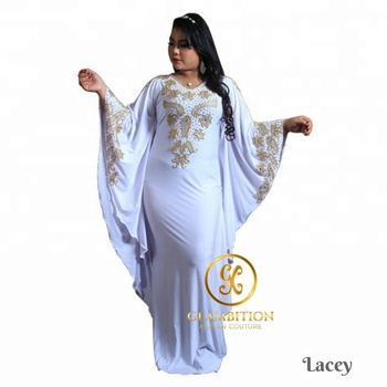 #GKCcatalog GKC Lacey White Gold Beads African Abaya Dubai Moroccan Kaftan Dress from Supplier Indonesia