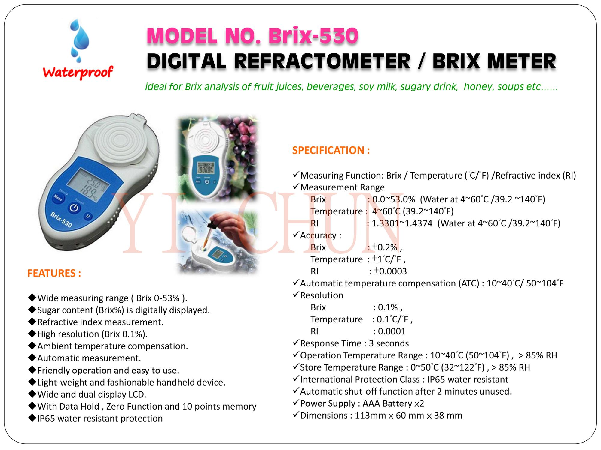 BRIX-530 Brix Refractometer Meter with Temperature