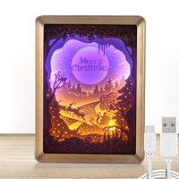 Popular wall art homedecoration wood photo frame with 3D effect lamp