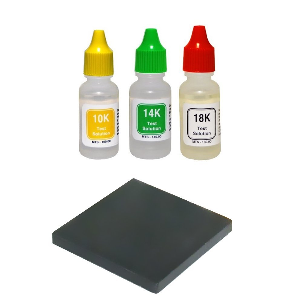 "PuriTEST 10k/14k/18k Gold Test Acid Solutions Tester Kit Detect Metals Scrap Jewelry + PRO 2x2"" Testing Stone"