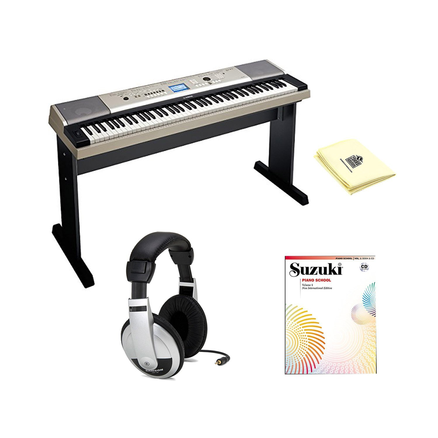 Yamaha YPG-535 88-key Portable Grand Graded-Action USB Keyboard with Matching Stand, Sustain Pedal, Piano Book and CD Volume 1, Samson HP10 Stereo Headphones and Polishing Cloth