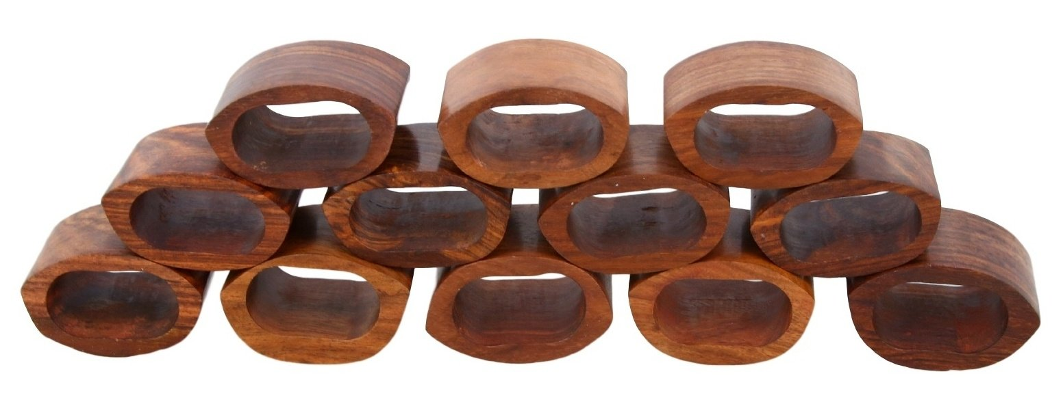 Arn Craft Handcrafted Table Dinner Decorations Wooden Napkin Rings Set Of 8 For Party Decor Cw