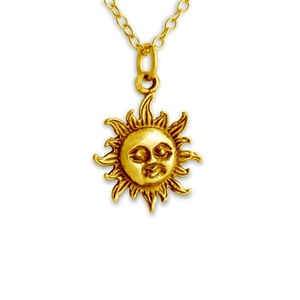 Smiling Sun Face Celestial Symbol Star of the Solar System Charm Pendant Necklace