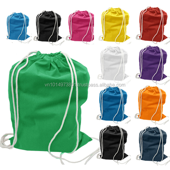Cotton drawstring bag printed impressed with cute logos made in Vietnam