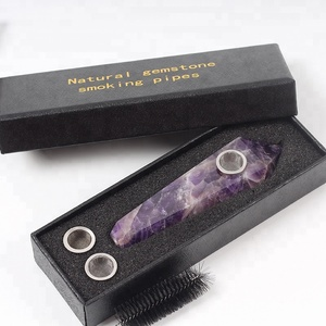 wholesale Natural Dream purple Amethyst tobacco stone pipe crystal smoking pipes for sale