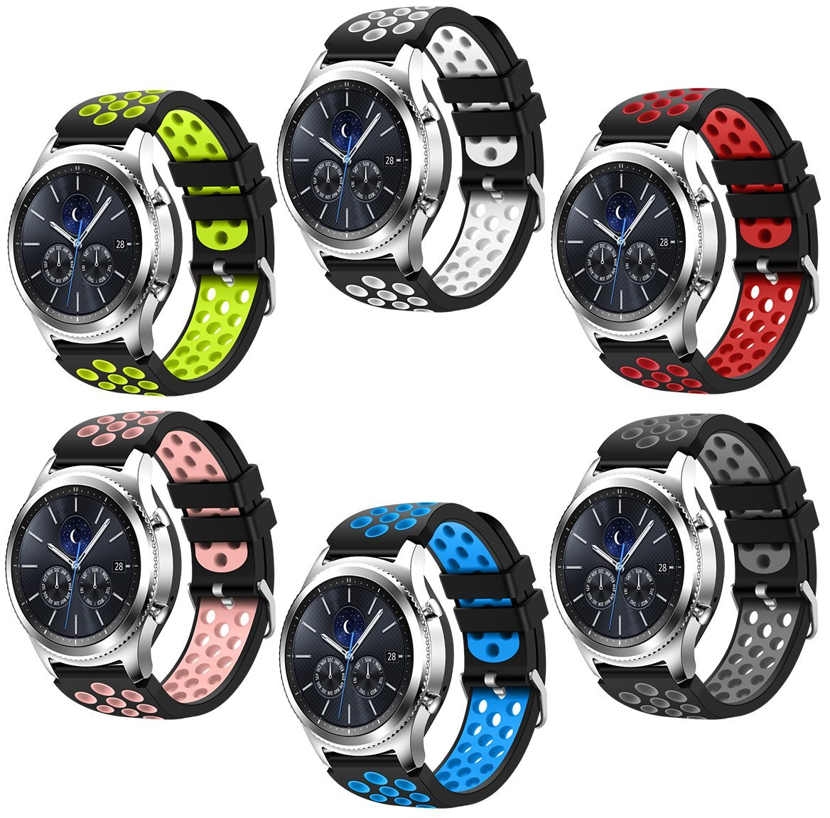 For Samsung Gear S3 Frontier and Classic Watch,CreateGreat Soft Replacement Breathable Sport Bands with Air Holes for Samsung Gear S3 Smart Watch Band