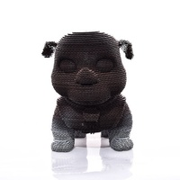 Hot Sale DIY Papercraft Handmade Bulldog Puppy Statue garden dog puppies statues for home decoration Corrugated Board Puzzle