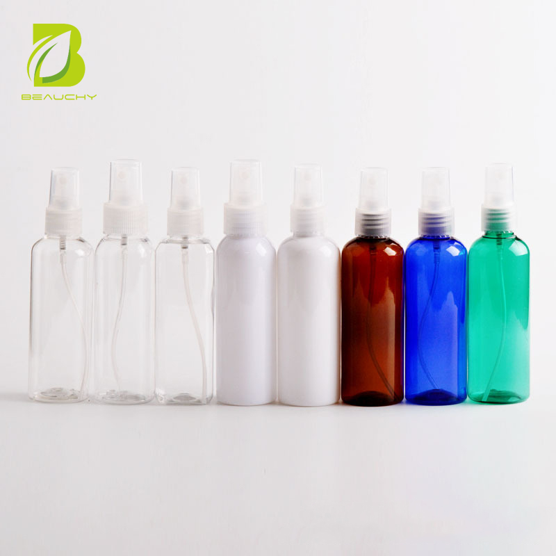 2018 china hot sale Cylindrical transparent PET spray bottle cosmetic packaging