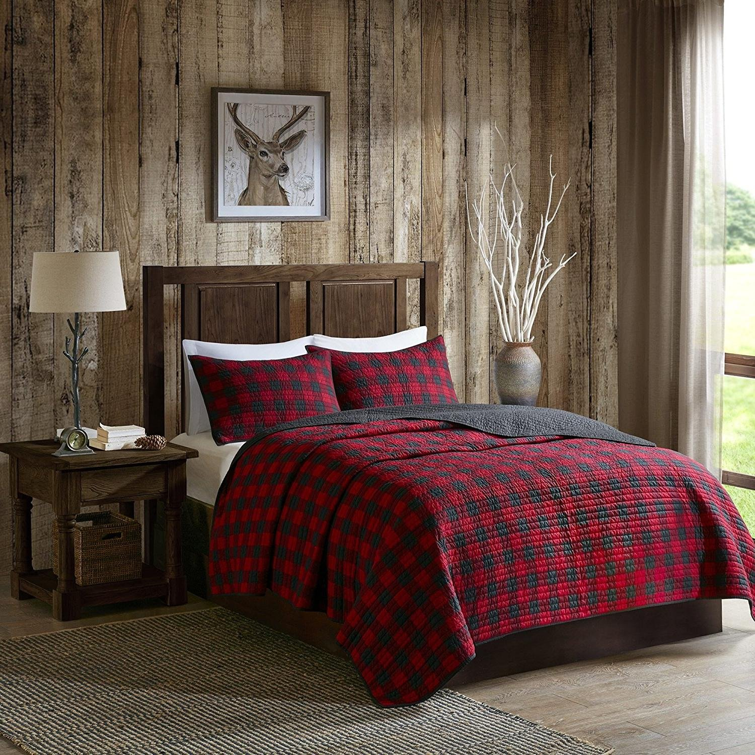 OSD 3pc Black Red Classic Plaid Quilt King/Cal King Set, Cotton, Tartan Checked Pattern Bedding Cabin Lodge Themed Madras Checkered Squares Southwest Western Patchwork Solid Color