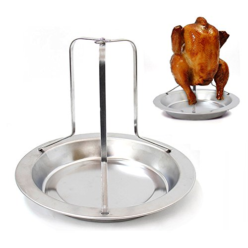 Chicken Roaster Rack, Stainless Steel Non-Stick Vertical Chicken Holder BBQ Chicken Roasting Stand for Grill Smoker or Oven with Deep Drip Pan, Dishwasher Safe Barbecue Chicken Stand