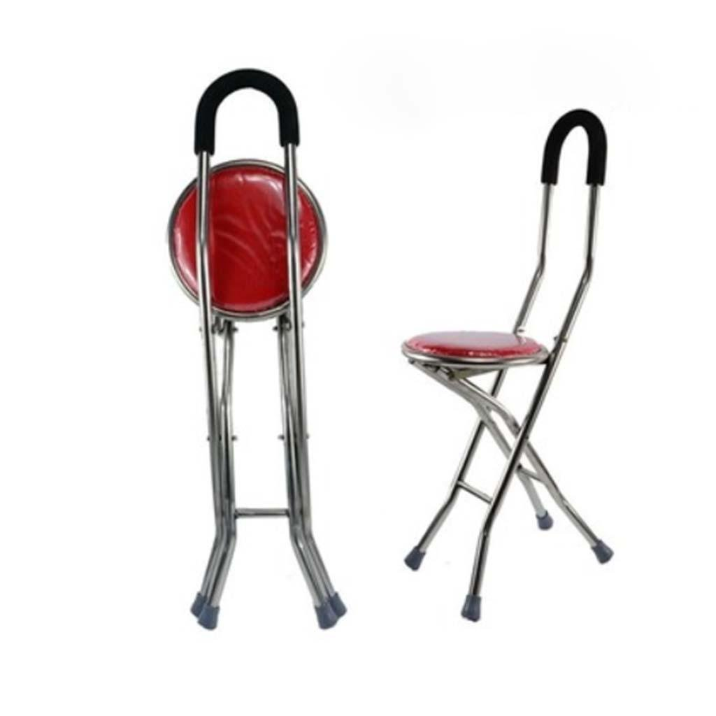 MOXIN Cane seat walking stick seat canes three-legged stool chairs for the elderly the elderly walking stick stool , a , feet of type s red stool