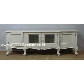 French Style Tv Console White Painted Stand European Table Wooden Mahogany Home
