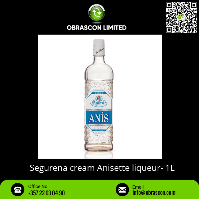 Segurena Cream Anisette Liqueur with 24% Alcohol in 1L Bottle