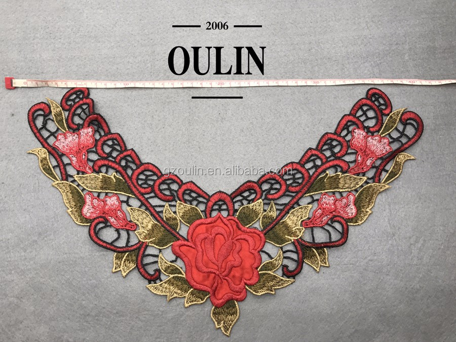 Water soluble type collar flower collar embroidery type collar applique flower collar embroidery applique