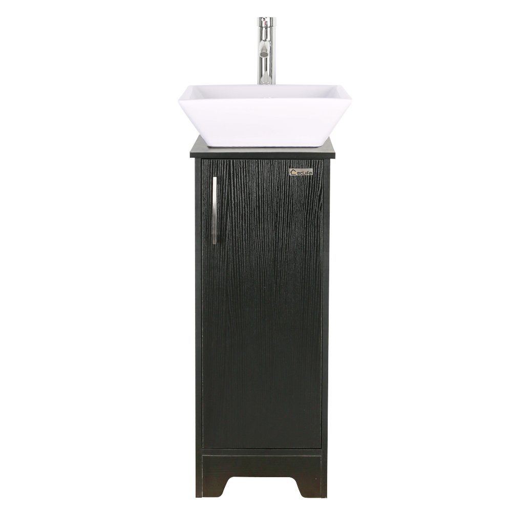 Get Quotations · 13 Inch Modern Bathroom Vanity Units Cabinet And Sink  Stand Pedestal With Square White Ceramic Vessel