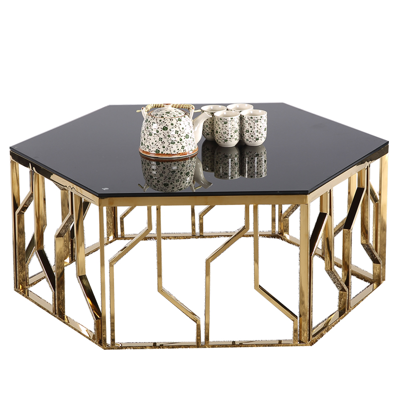 Tempered Glass Top Modern Coffee Table Gold Round Design Stainless