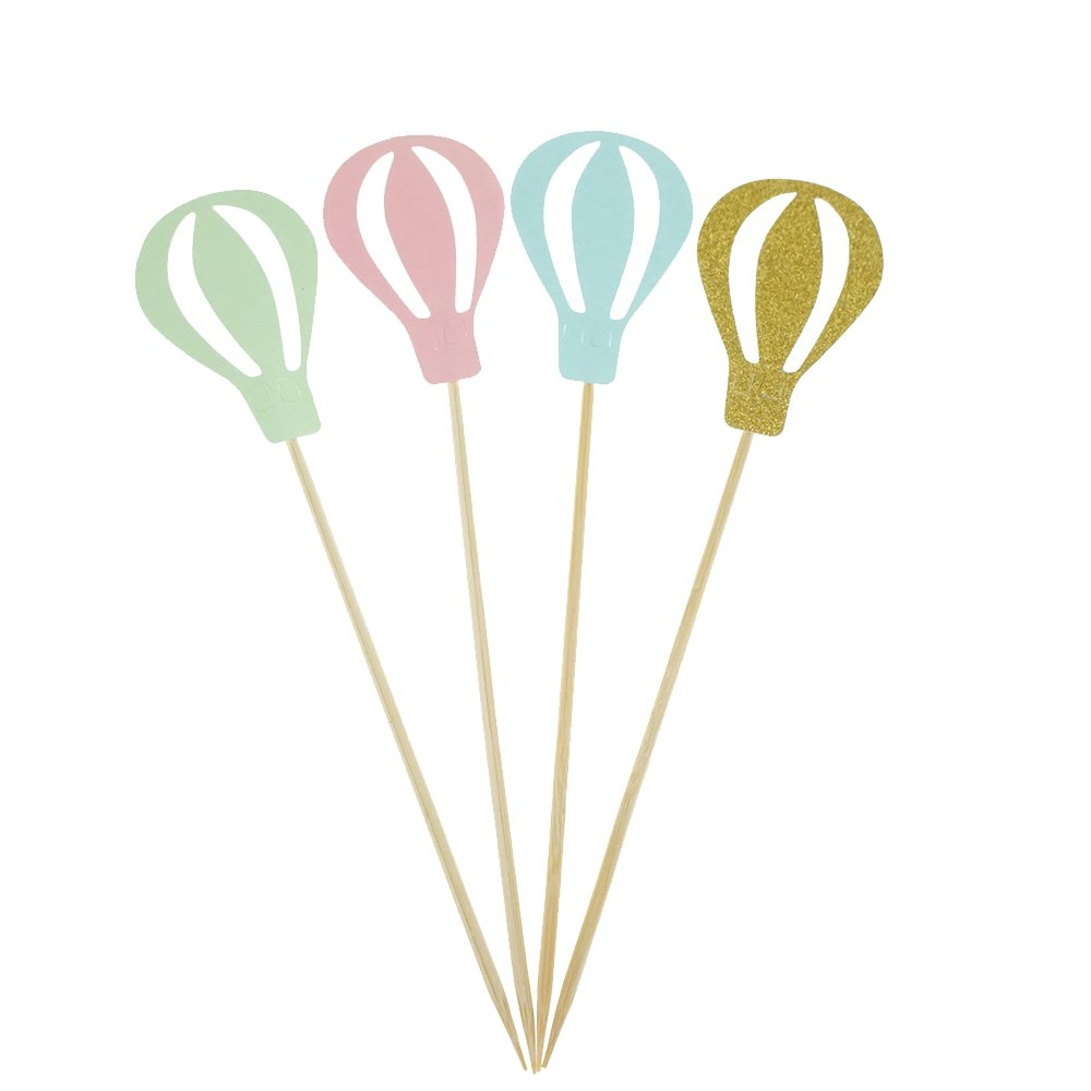 Hot Air Balloon Cake Cupcake Toppers for Birthday Wedding Baby Shower Decoration Pack of 24 by GOCROWN