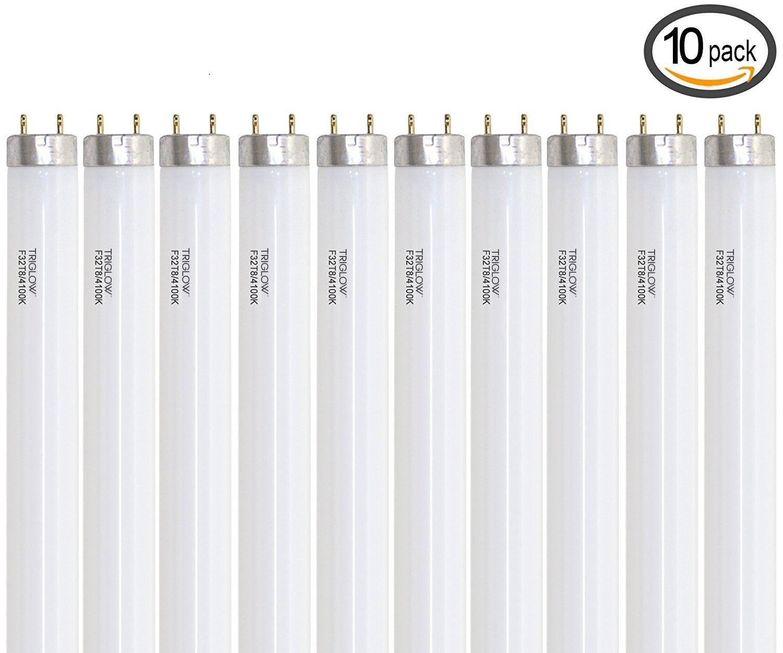 "TriGlow (Case of 10) F32T8/SP41 Linear Fluorescent 32-Watt T8 FO32 741 Light Bulb 48"""
