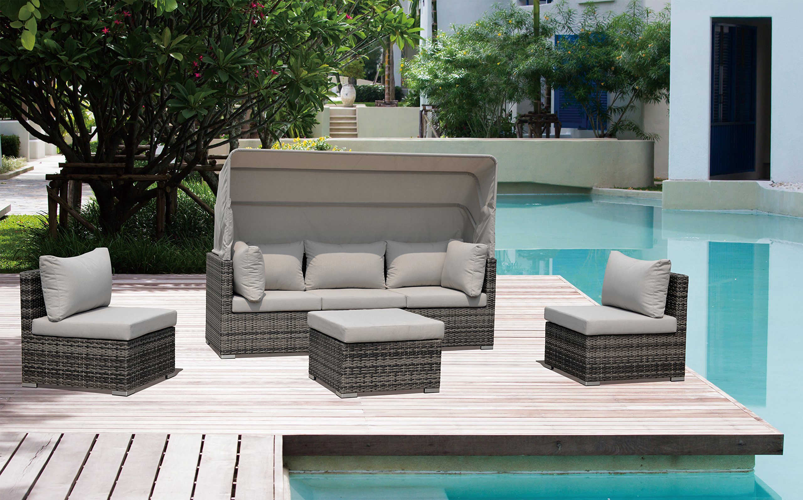 Courtyard Casual Taupe Aurora Outdoor Sectional to Daybed Combo with Canopy