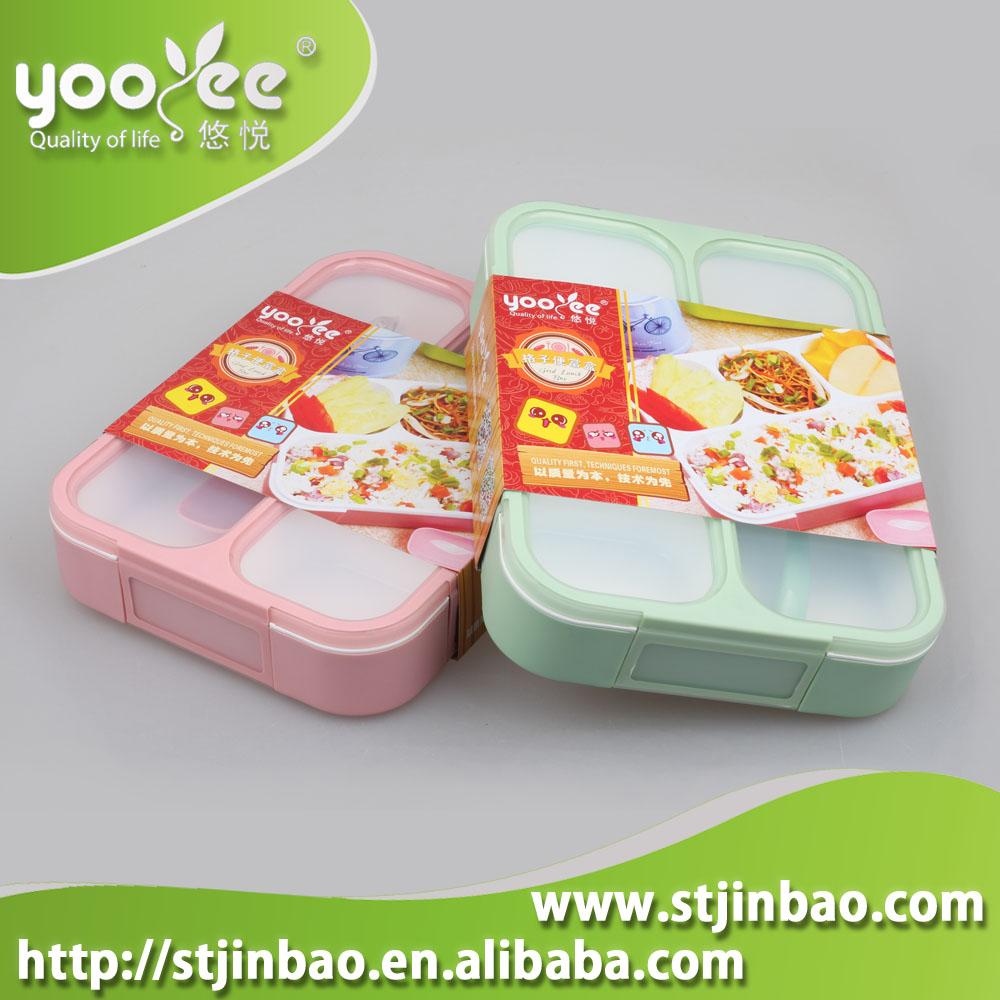 Unique Design School 플라스틱 어린이 3 칸막이 Lunch Box 식품 Storage Container 와 Lid 및 숟가락