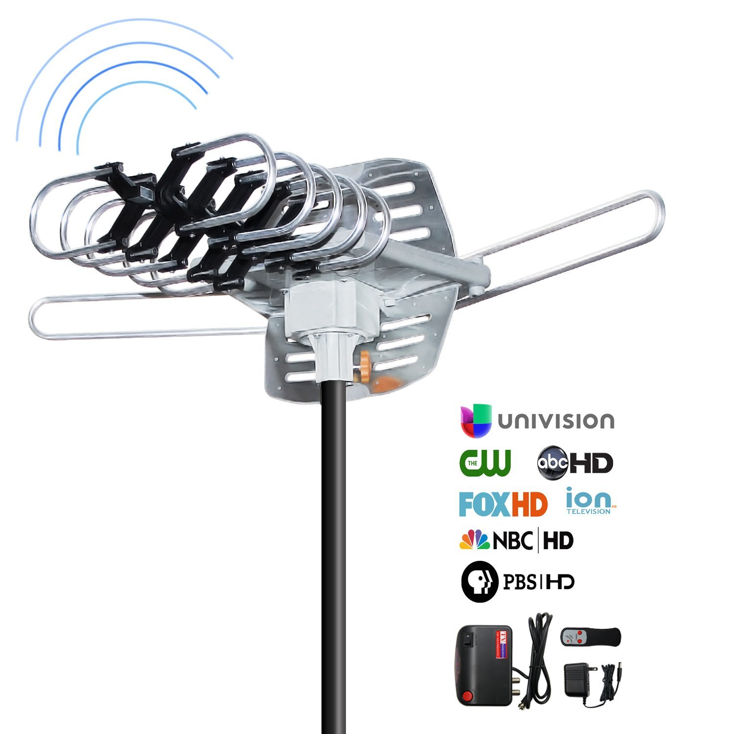 Outdoor HD TV Antenna, OHAYO 150 Miles Range HD Antenna with 360°Rotation in Infrared Control 33ft Detachable Cable Rooftop Digital Antenna (Outdoor-Antenna)